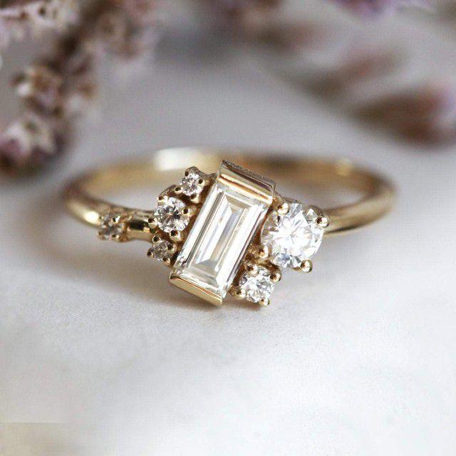 baguette diamond cluster ring