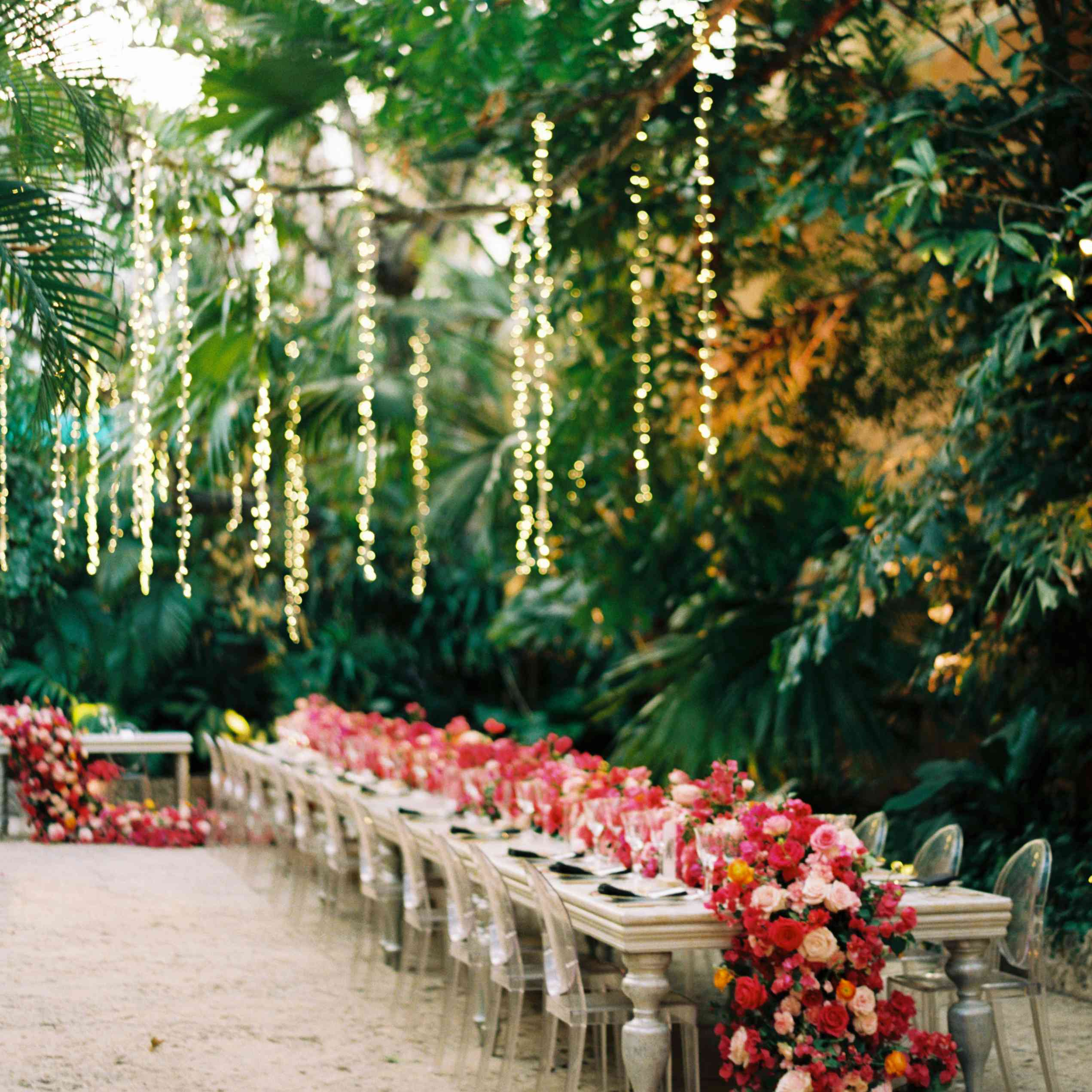 reception with hanging lights