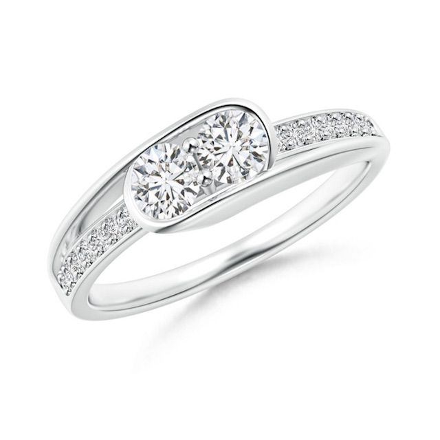 Angara Round Two Stone Diamond Bypass Ring with Accents
