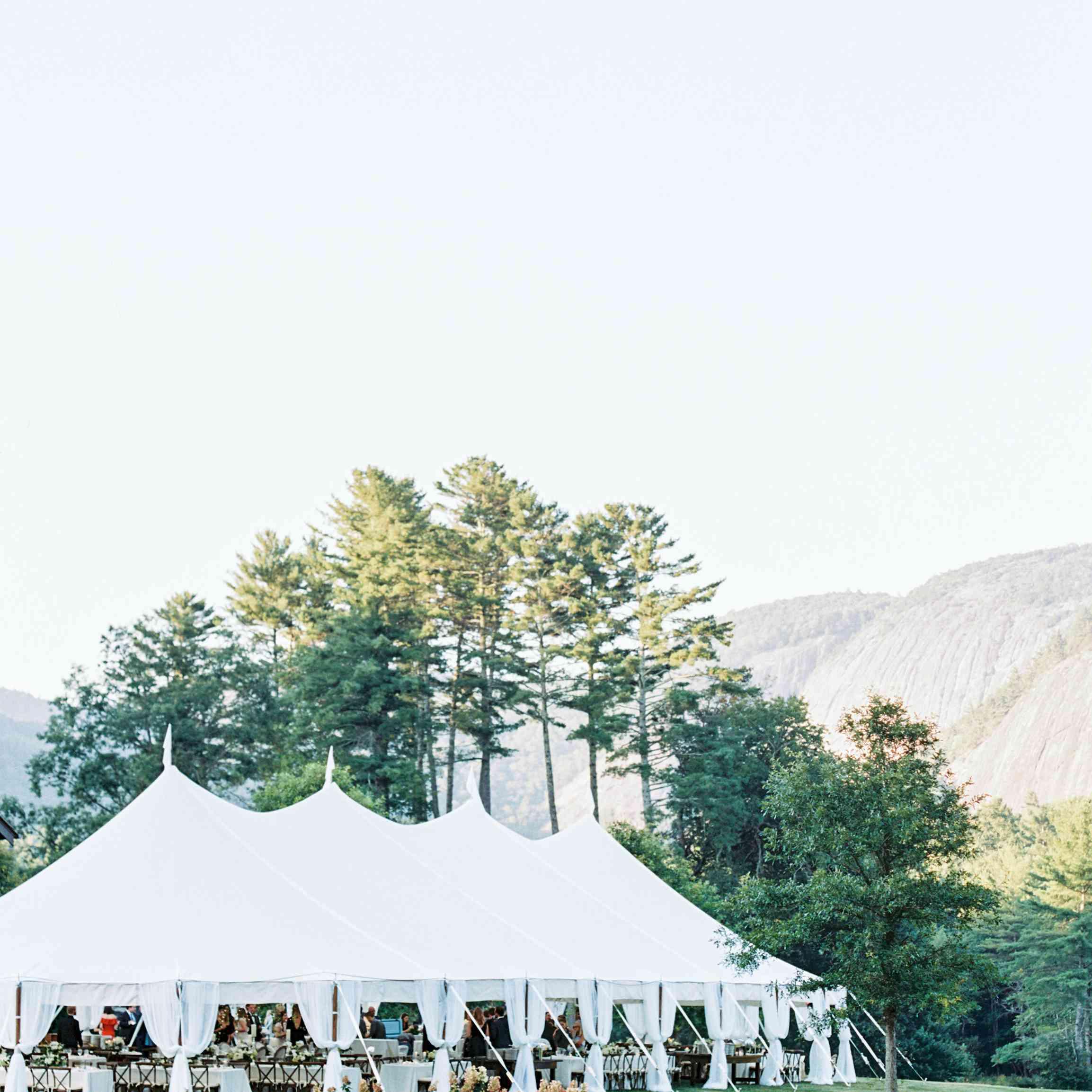 White wedding reception tent