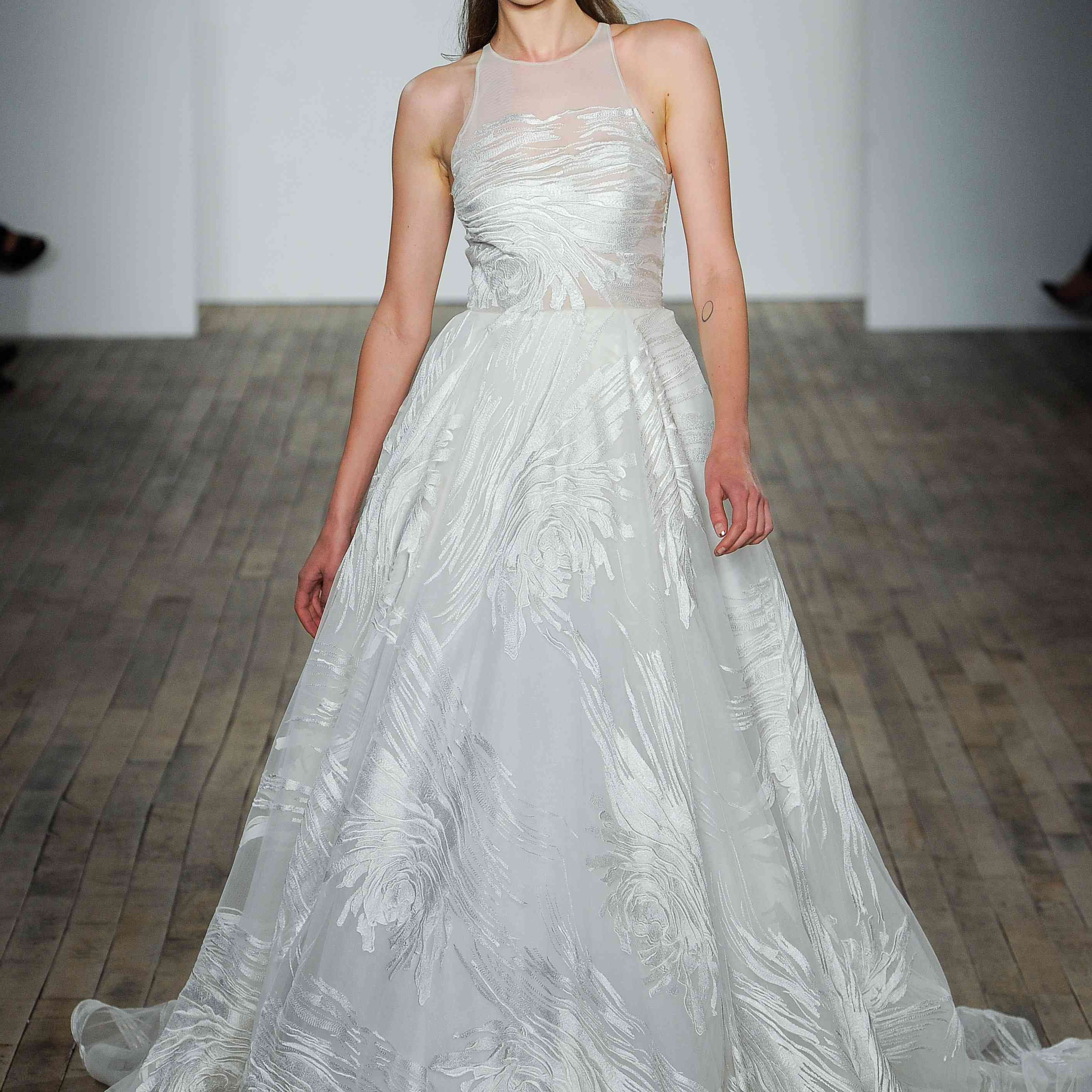 Ball Gown Embroidered Wedding Dress: Lazaro Fall 2018