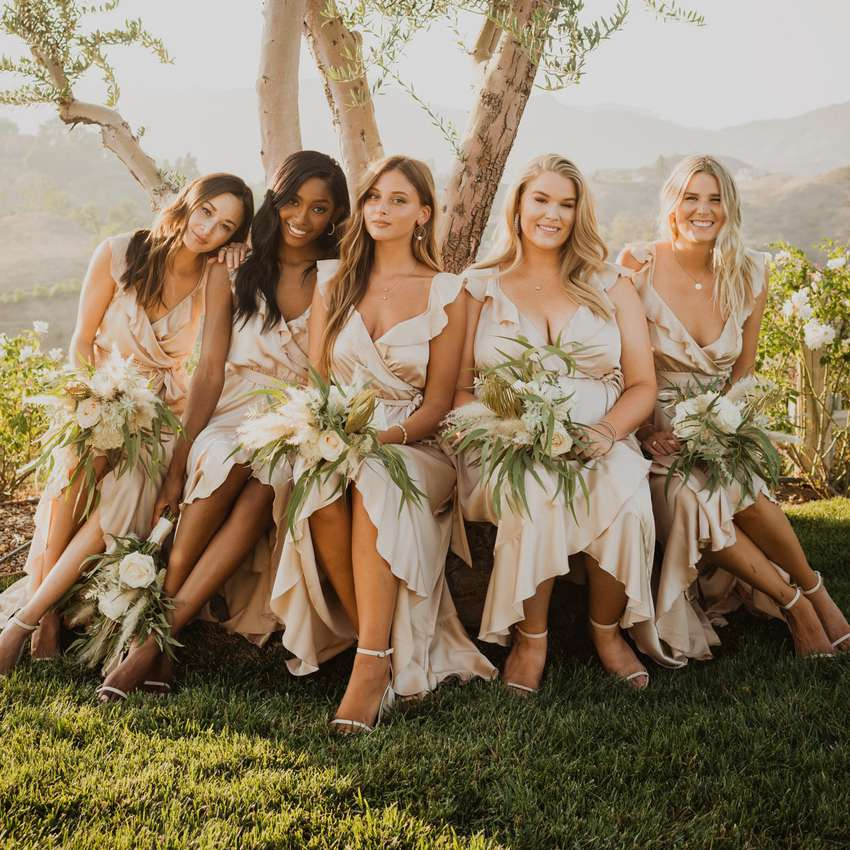 high-low bridal party