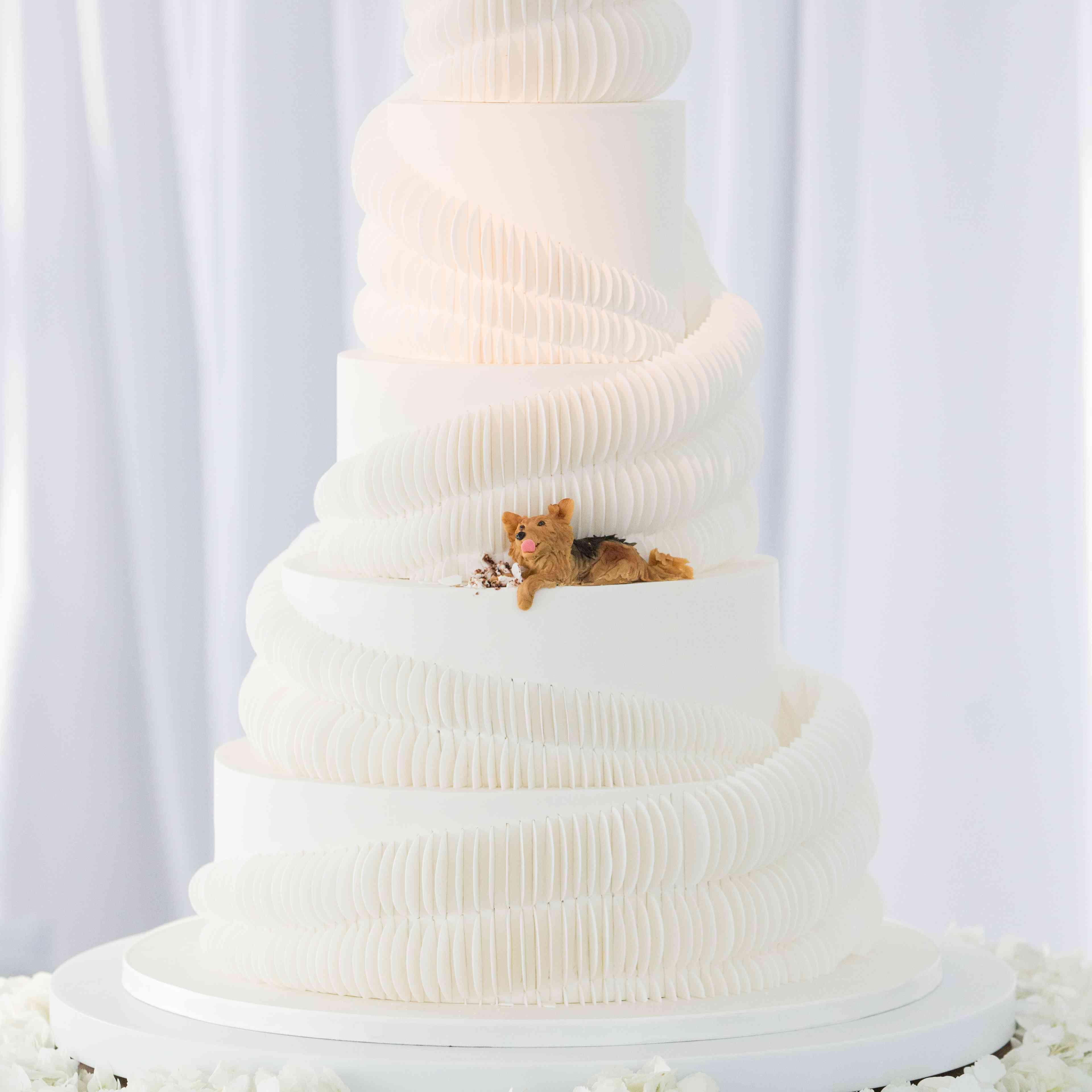 wedding cake with dog decoration