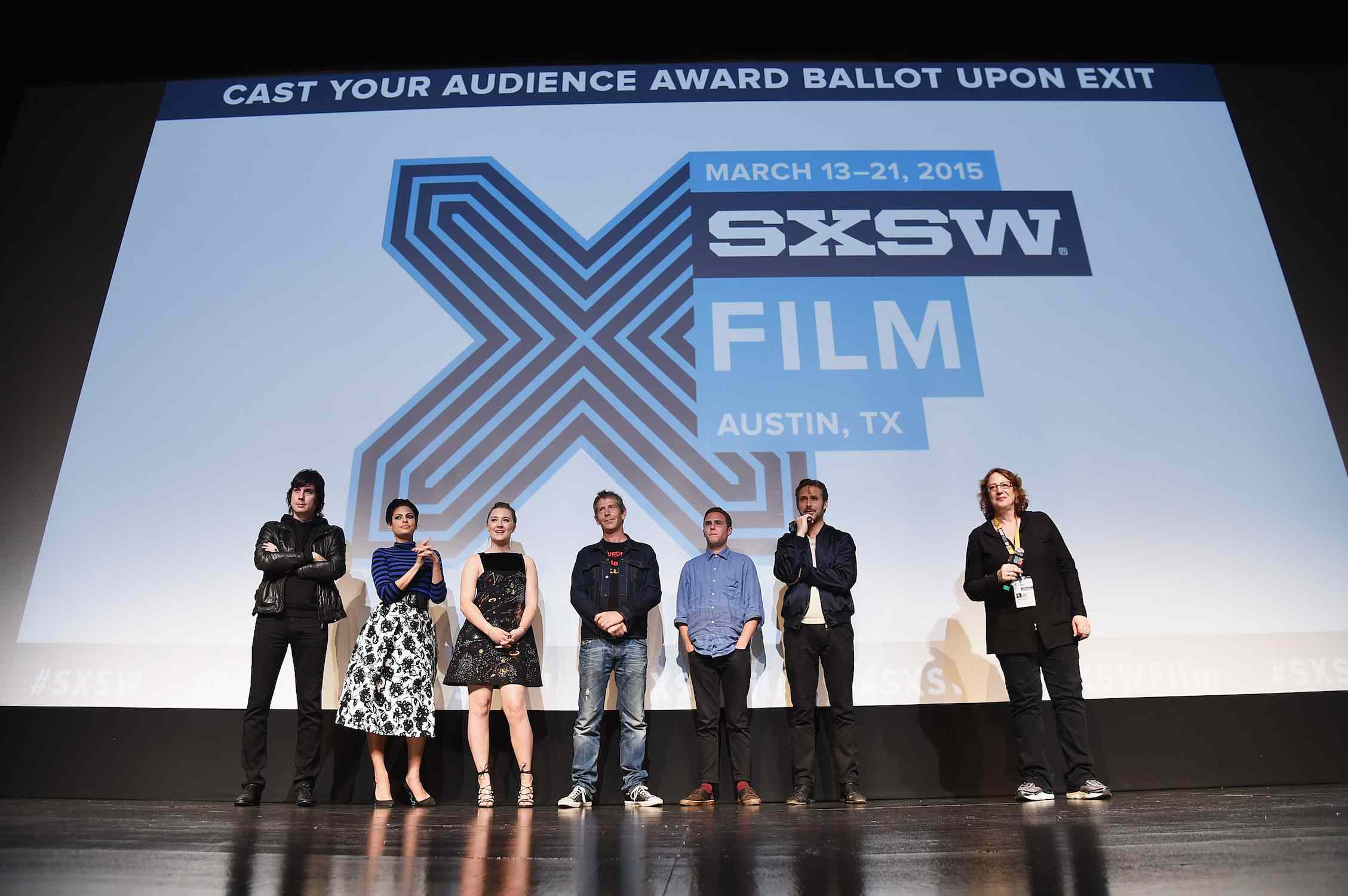 The cast of 'Lost River' stands onstage at the SXSW film festival in Austin, Texas.