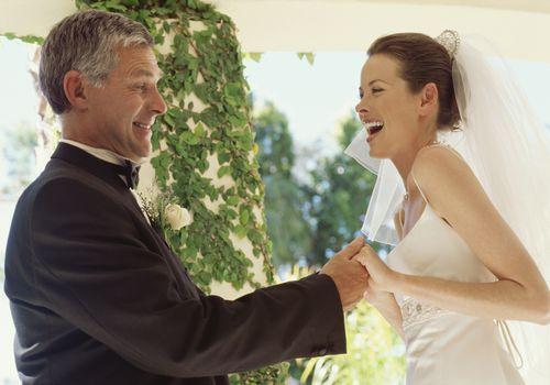 Bride's father dancing with bride at wedding reception