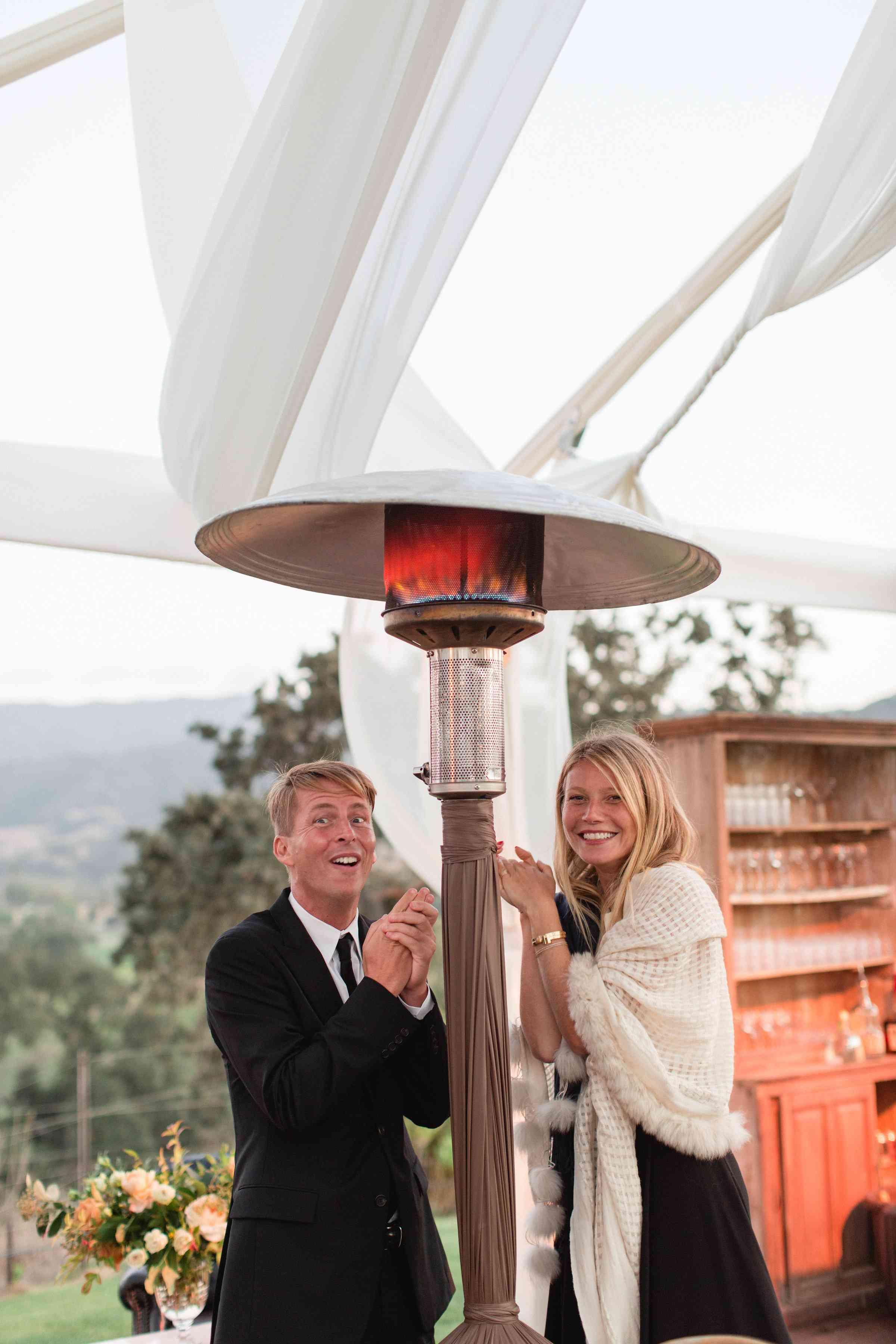 Gwyneth Paltrow under a heat lamp