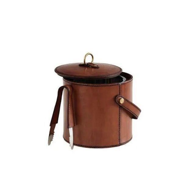 Arthur Leather Cognac Ice Bucket