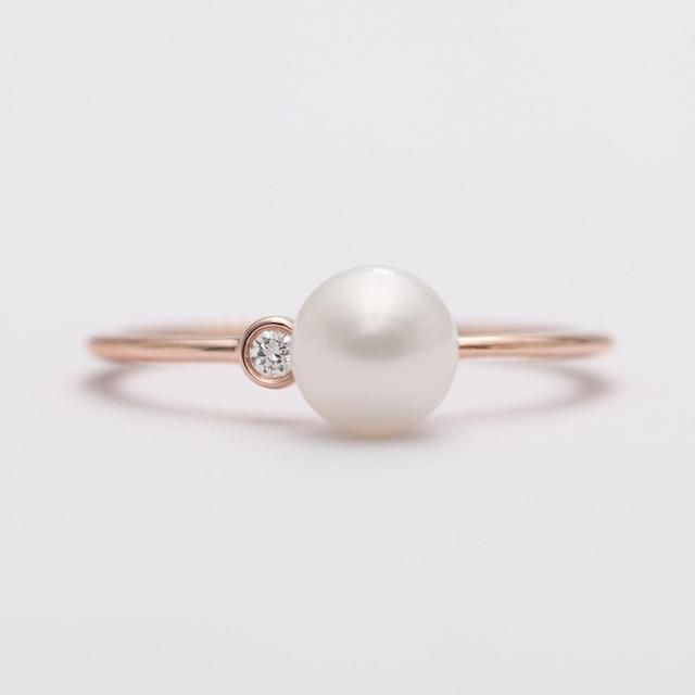 Wedding thin ring Proposal ring with pearl Akoya pearl Engagement ring Pearl ring in silver Bridal rings