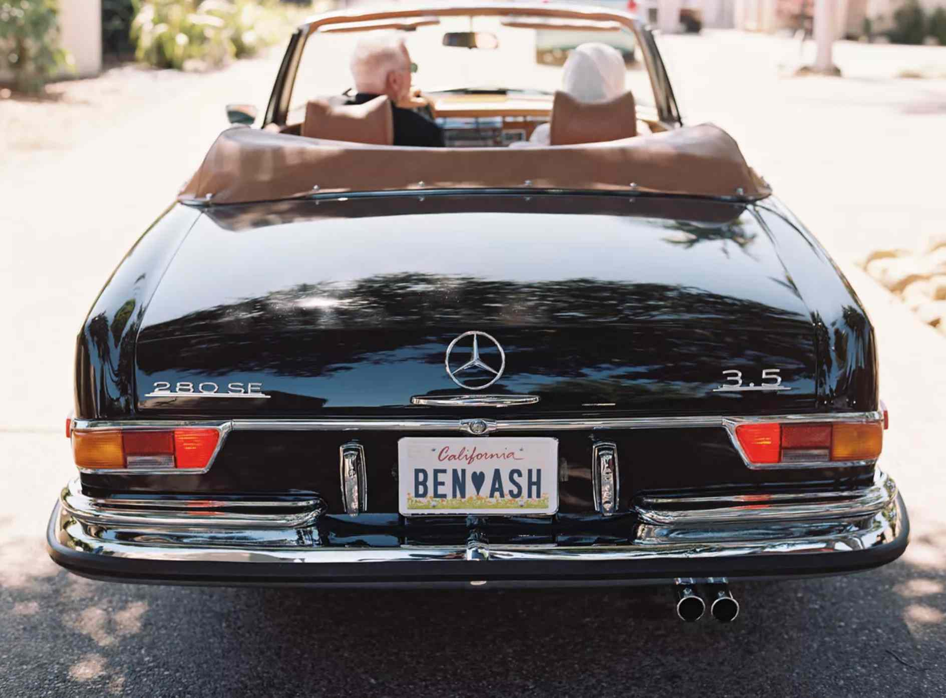 Mercedes convertible with vanity plates