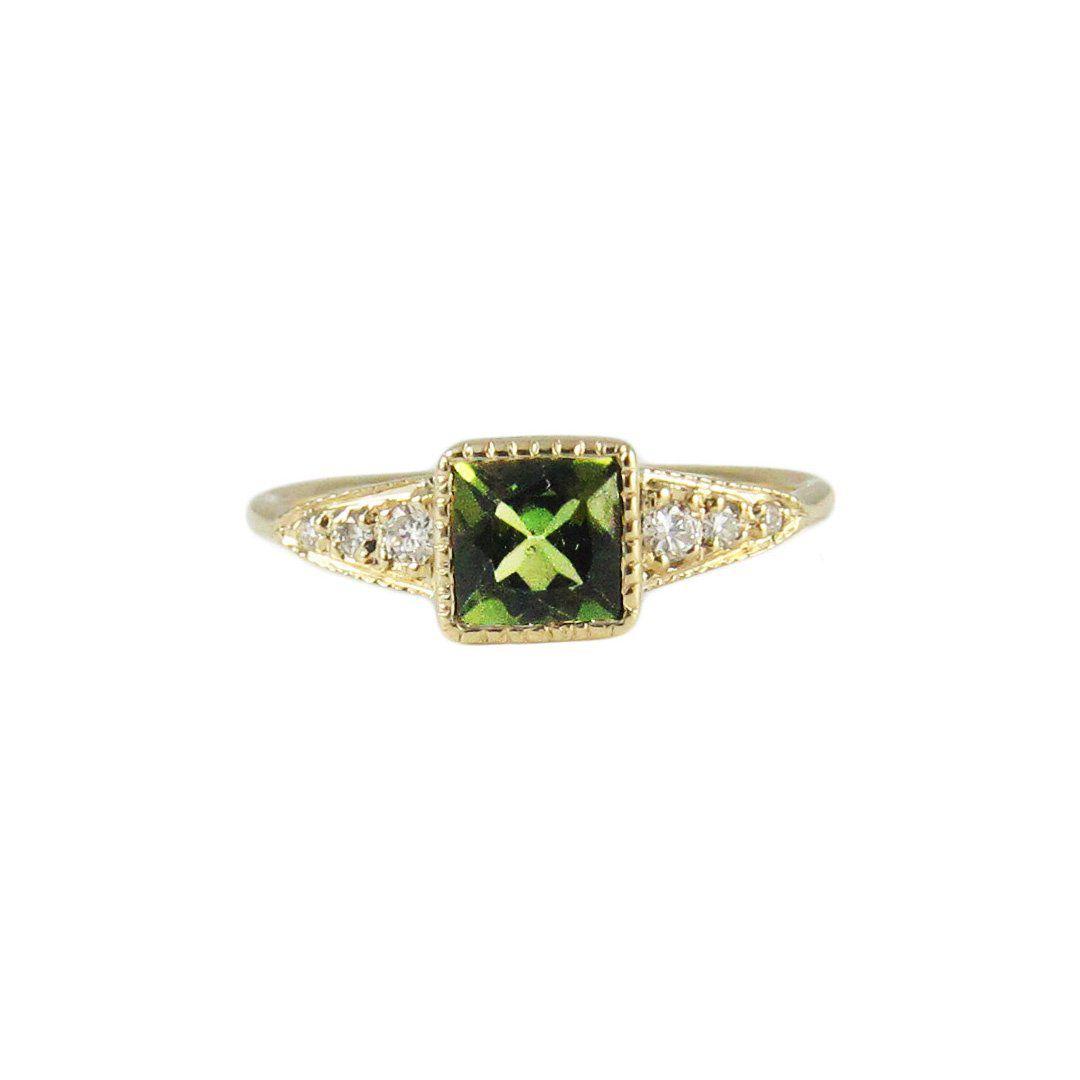 Jennie Kwon Green Tourmaline Deco Point Ring