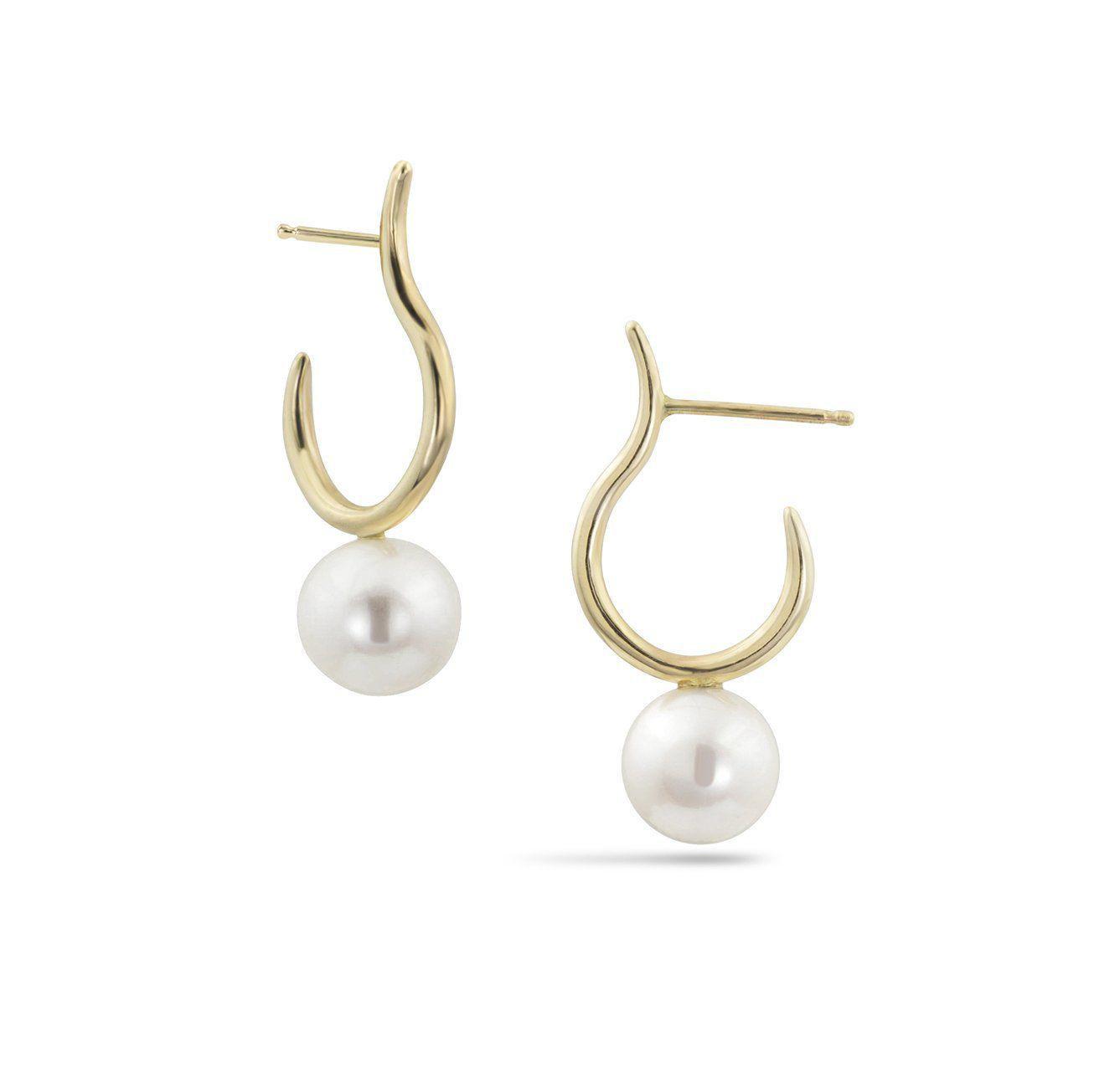 White Space Pearl Moon Half-Hoops $575