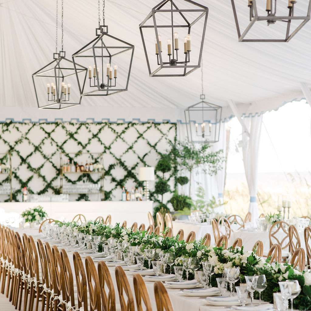 timeless southern wedding, tent reception with lanterns