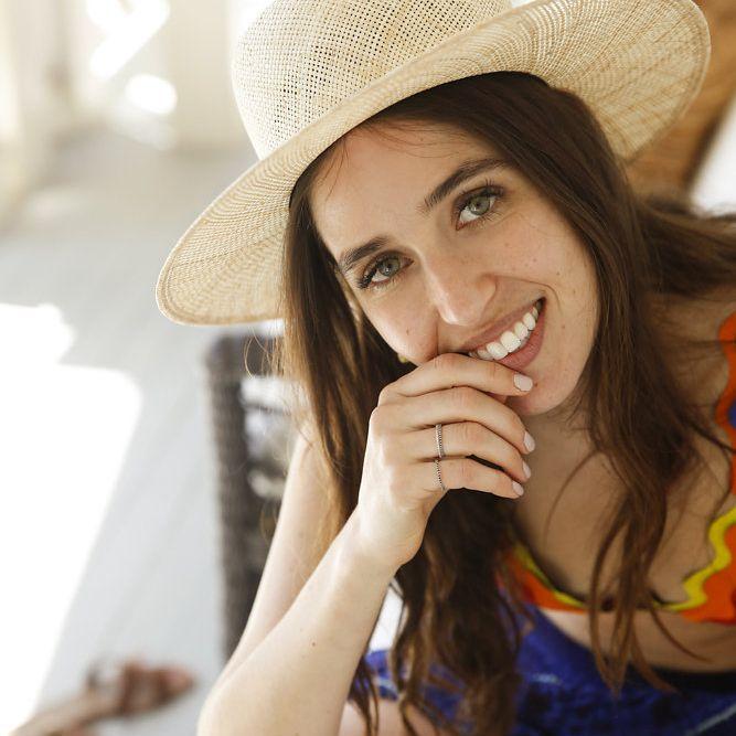 minimalist california celebration, bride in swimsuit pool party