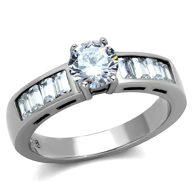 Marimor Stainless Steel Round Cut & Baguettes Cz Engagement Ring