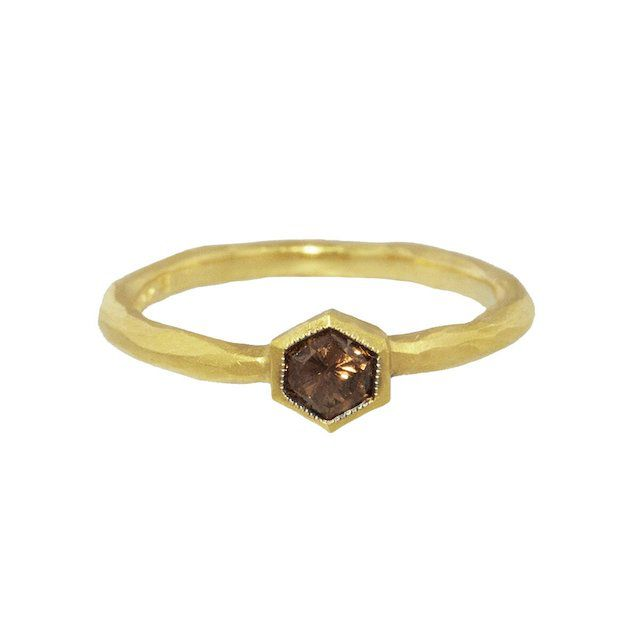 Ylang 23 Hexagonal Cognac Diamond Solitaire Ring