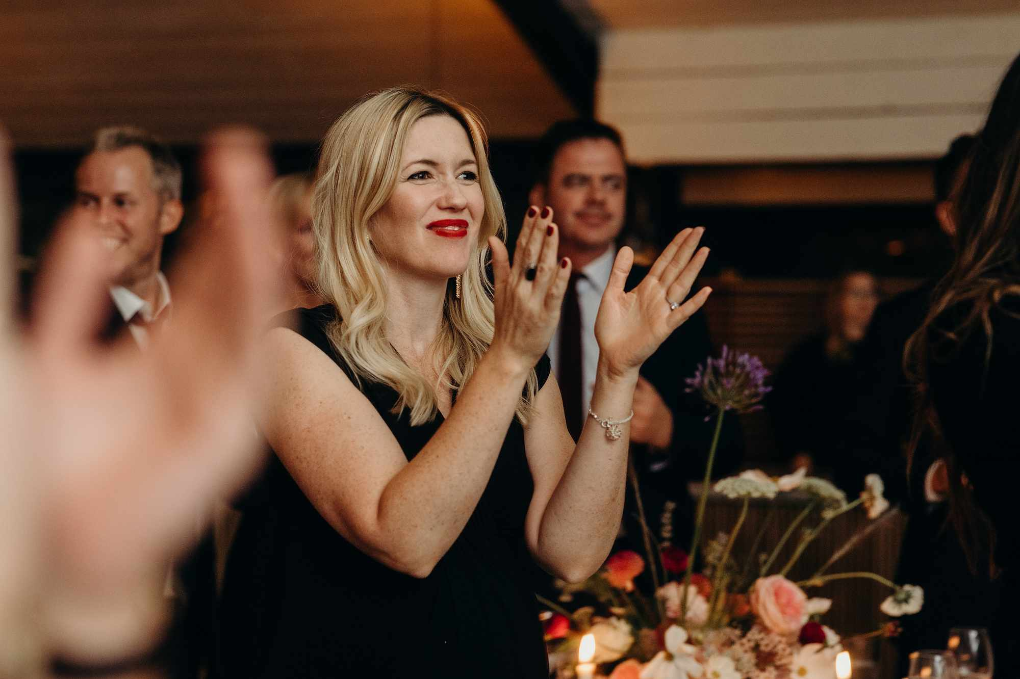 wedding guest clapping