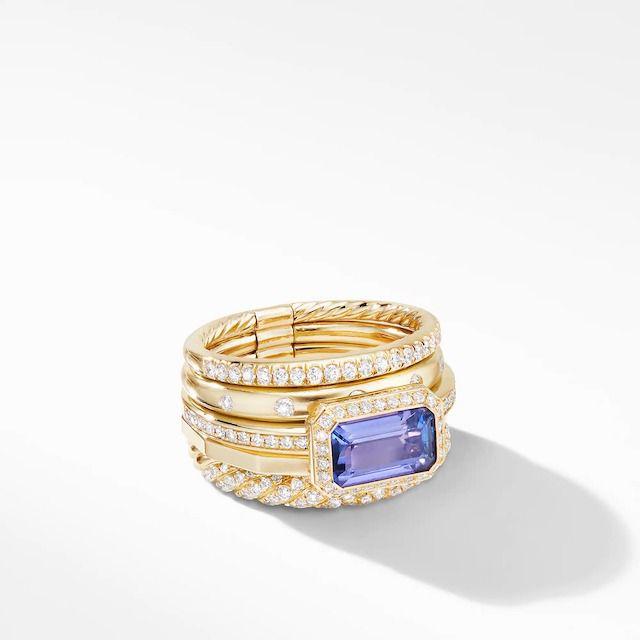 David Yurman Stax Statement Ring in 18K Yellow Gold With Tanzanite and Diamonds