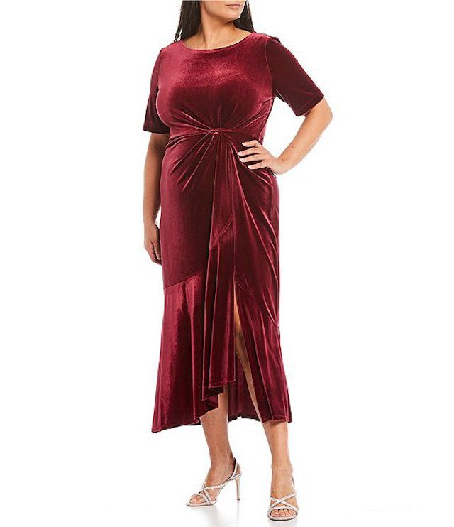 Maison Tara Plus Size Elbow Sleeve Velvet Asymmetrical Ruffle Front Midi Dress, $138