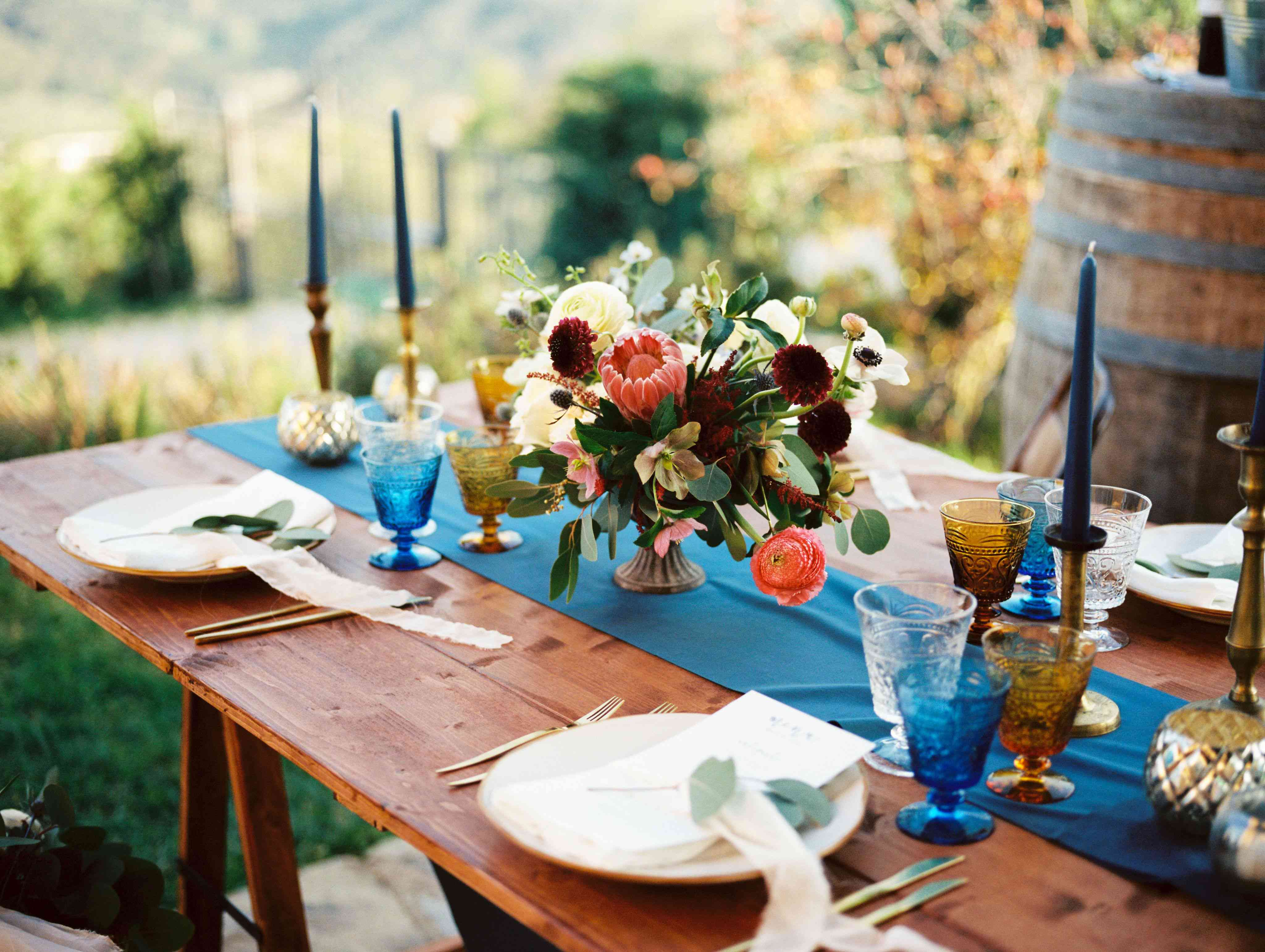 Colorful tablescape with blue candles