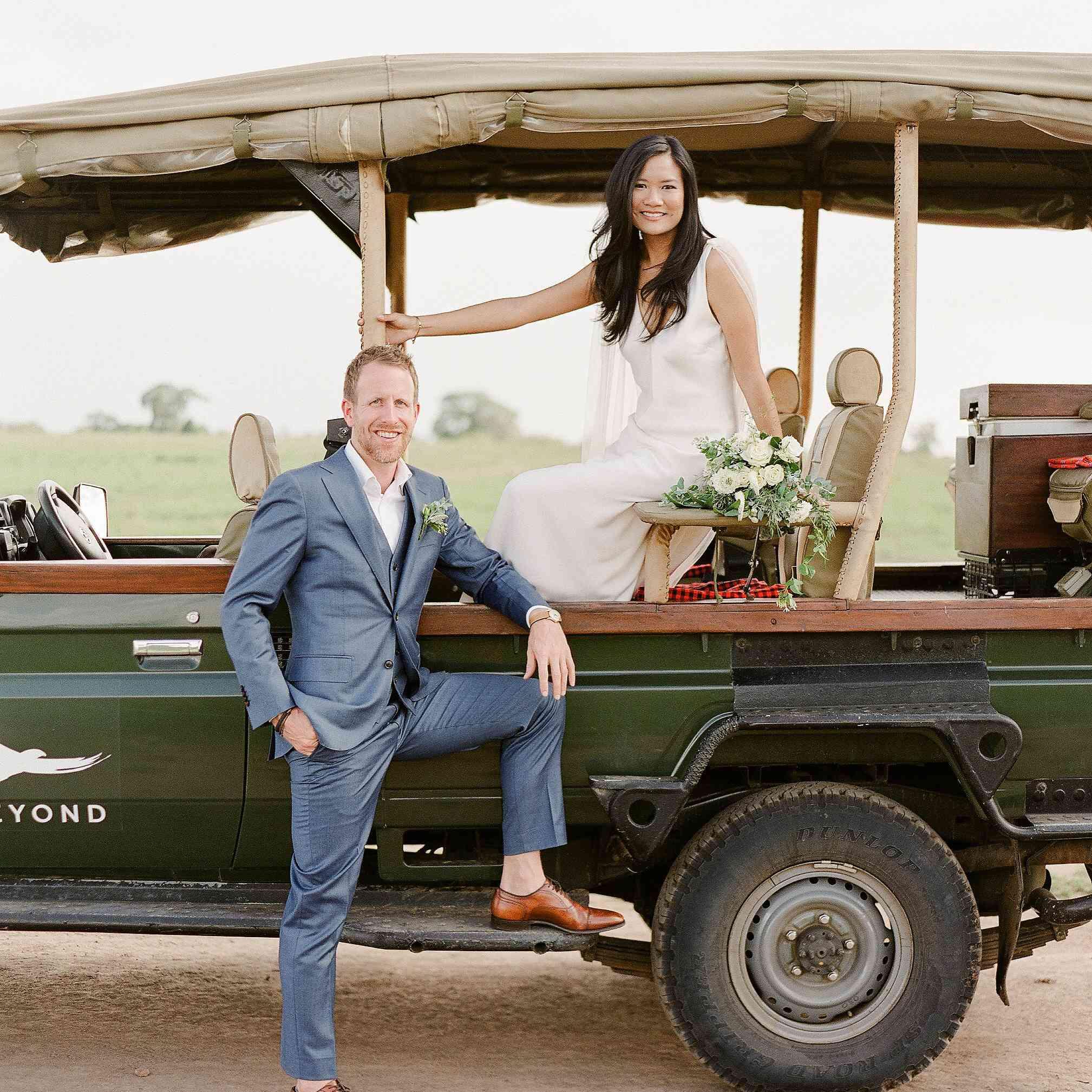 couple in safari truck