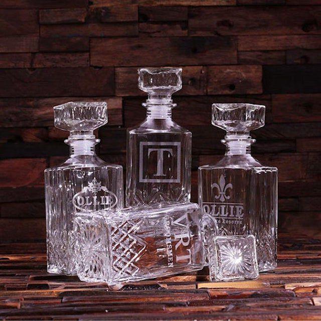 Teals Prairie Etched Scotch Whiskey Decanter Bottle