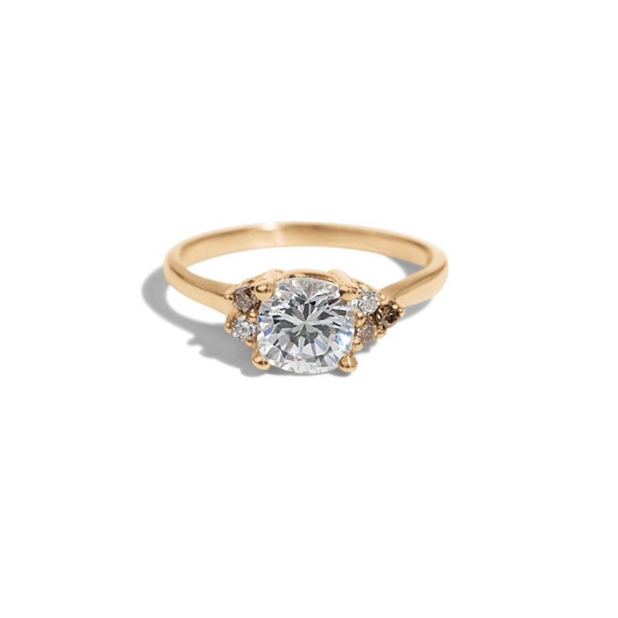 Bario Neal Avens Asymmetrical Diamond Cushion with Champagne Ombré Ring