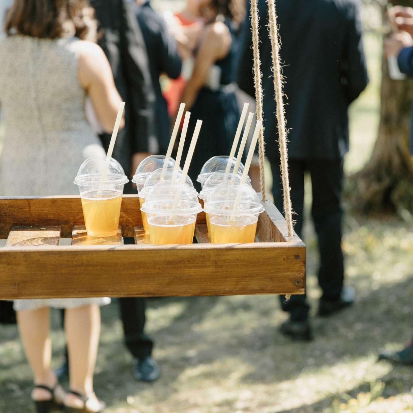hanging bar wedding cocktails