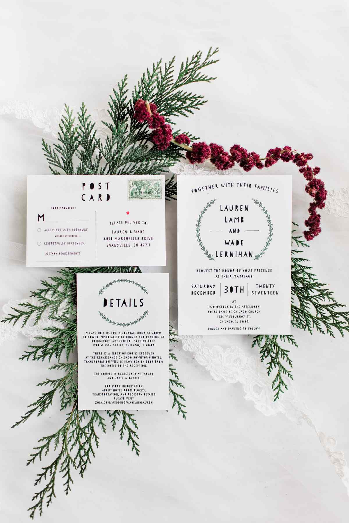 simple winter invitation