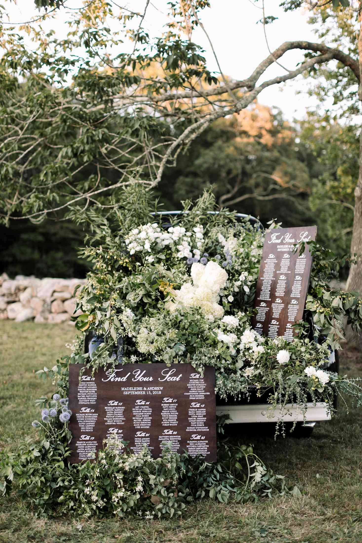 at-home rustic massachusetts wedding, rustic reception seating chart