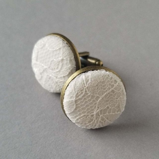 MarangStudios Ivory Lace Fabric Cuff Links