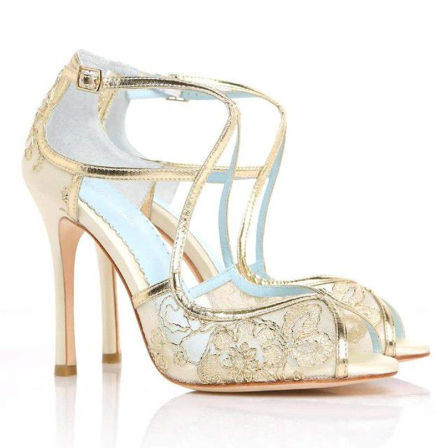 gold and blue shoes