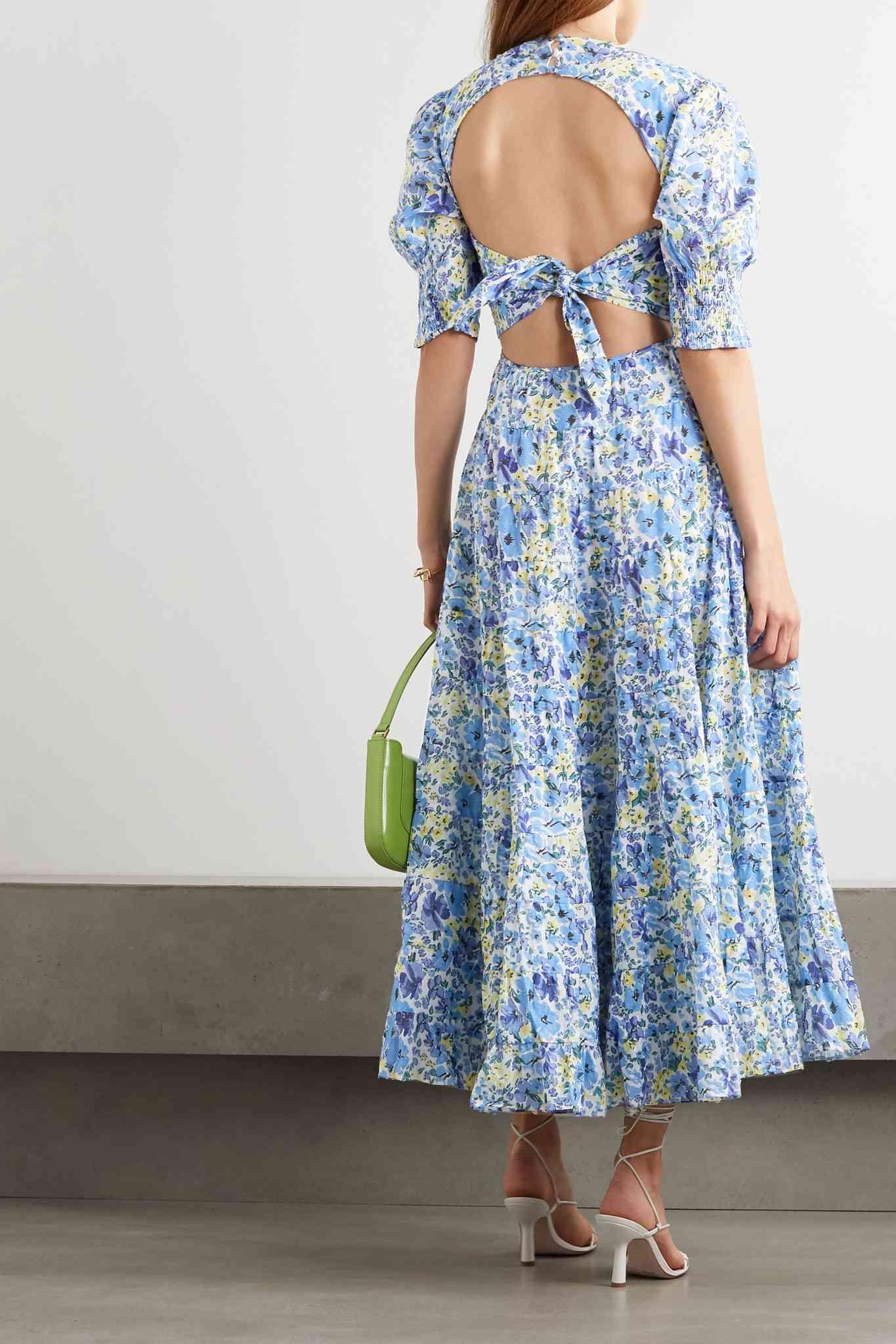 Rixo Agyness Cutout Tiered Floral-Print Fil Coupé Cotton Maxi Dress $164 (originally $410)