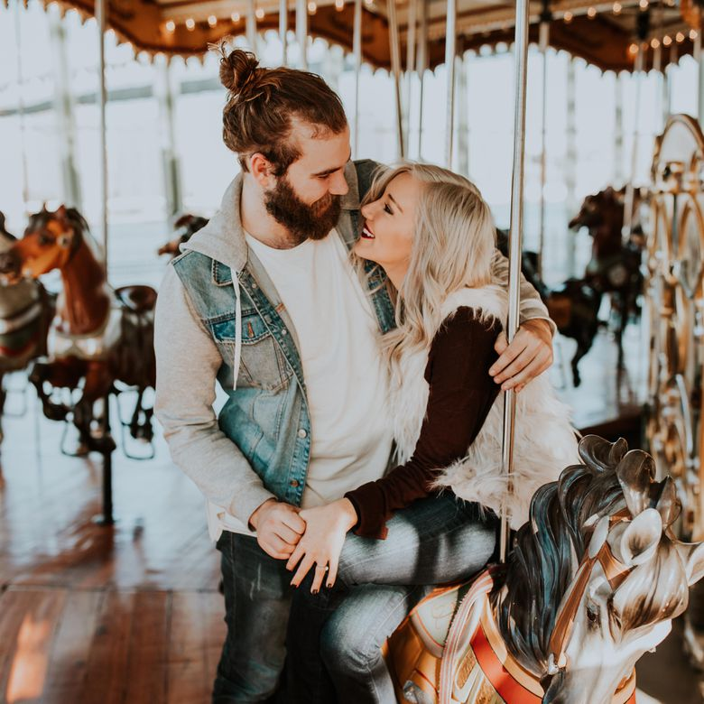 couple on carousel