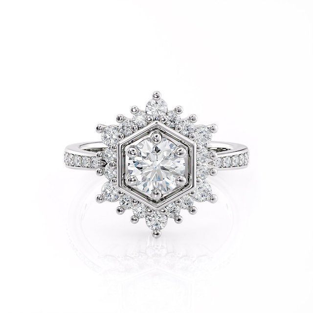 Alysha Whitfield Diamond Hexagon Halo Engagement Ring