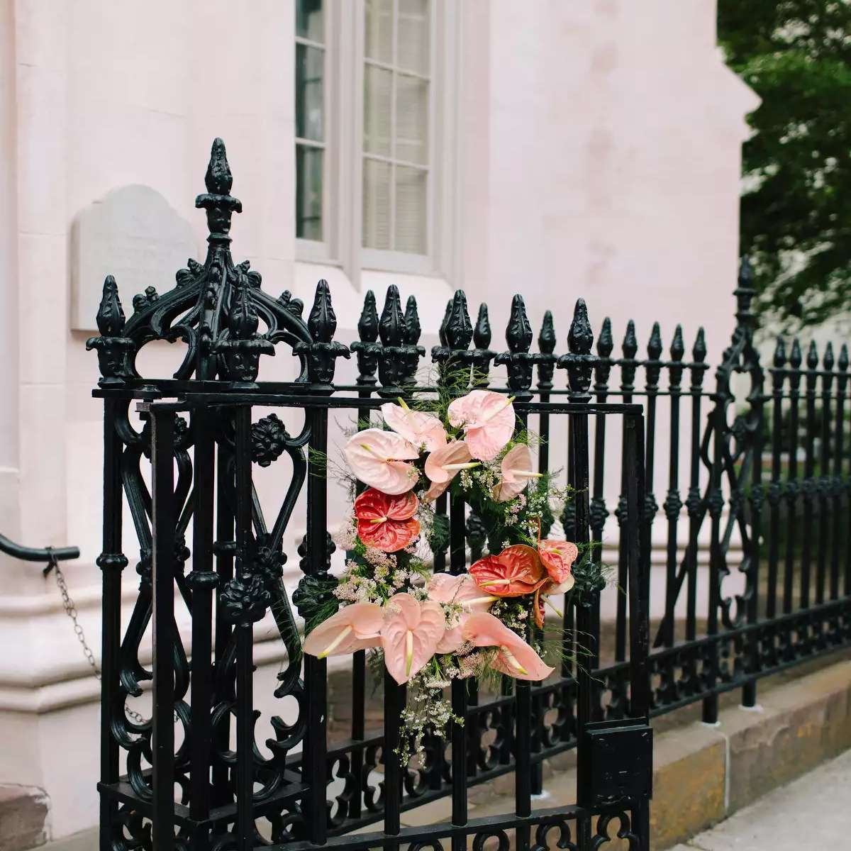 church gate with florals