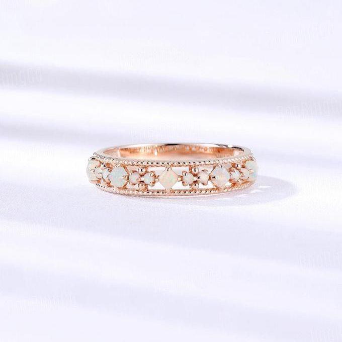 Esty Opal Rose Gold Wedding Band