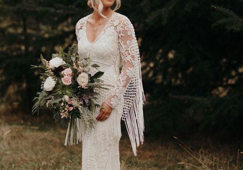 Bride in a fringe dress