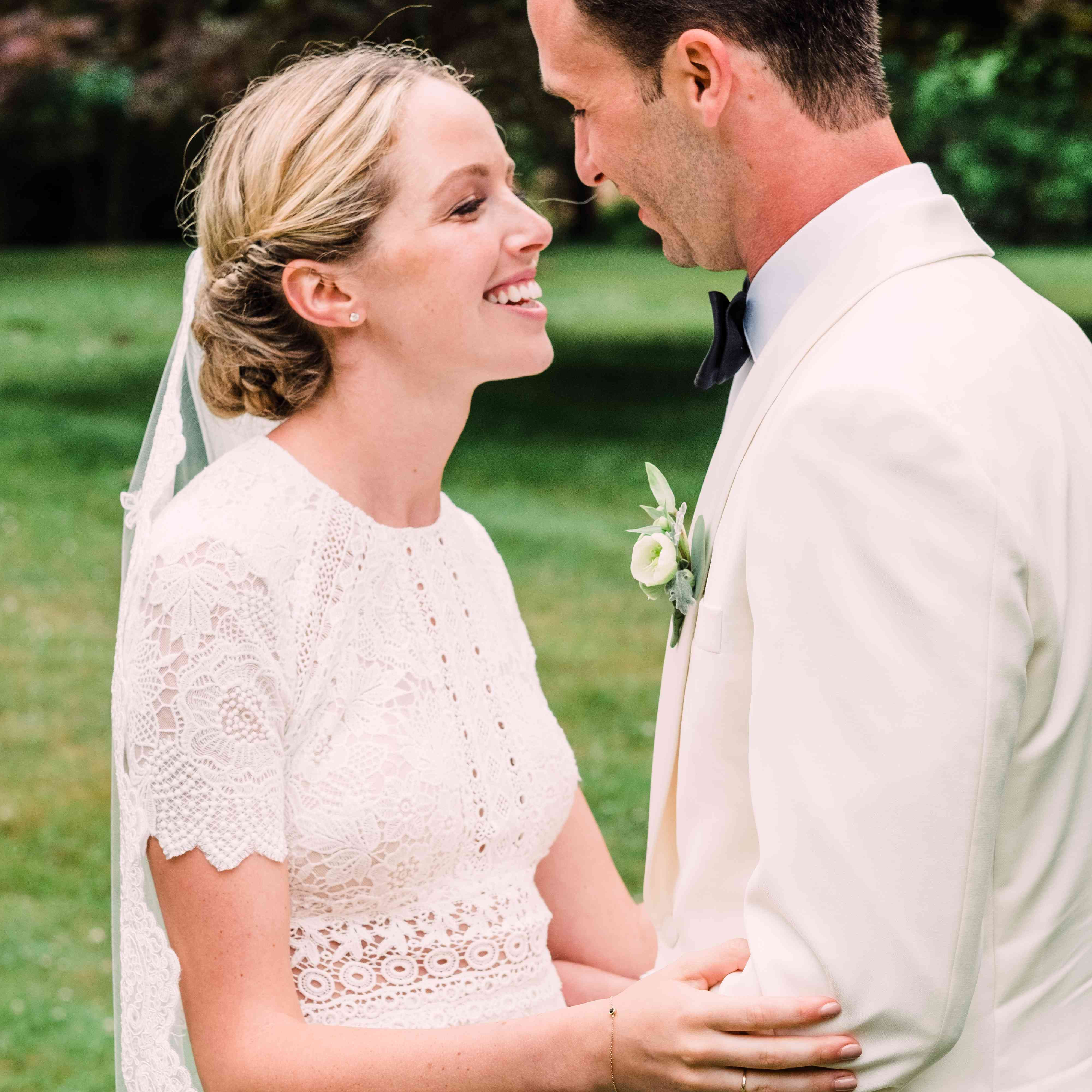 <p>bride and groom looking at each other</p><br><br>