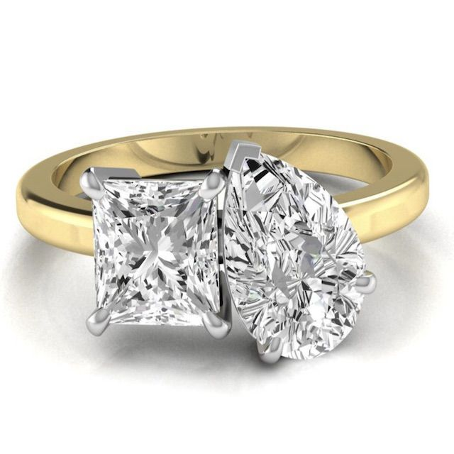 Armante Design Double Stone Engagement Ring Pear Cut and Princess Cut Moissanite Wedding Ring