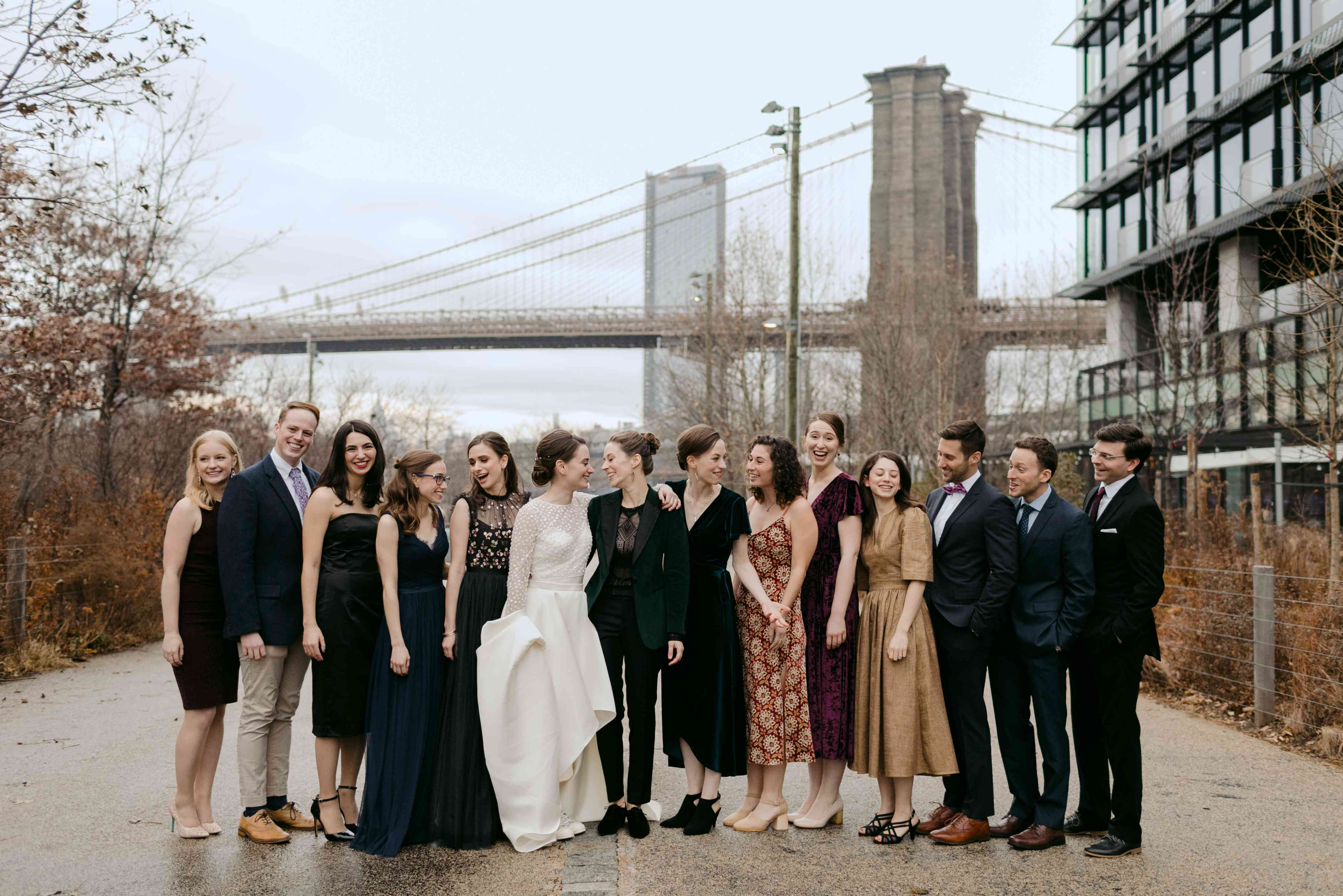 The brides and their wedding party