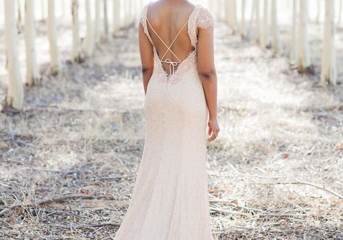 Bride in backless dress