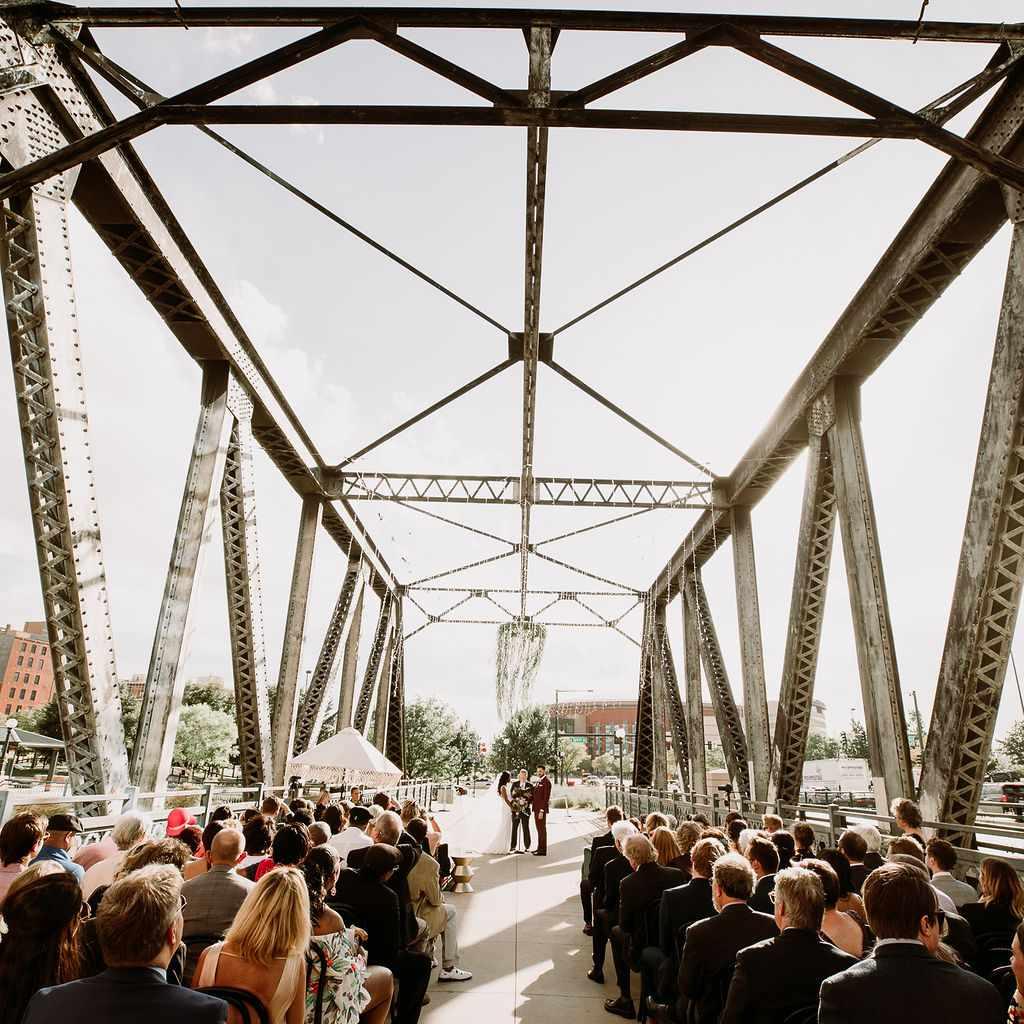 The couple's ceremony on Wewatta Bridge