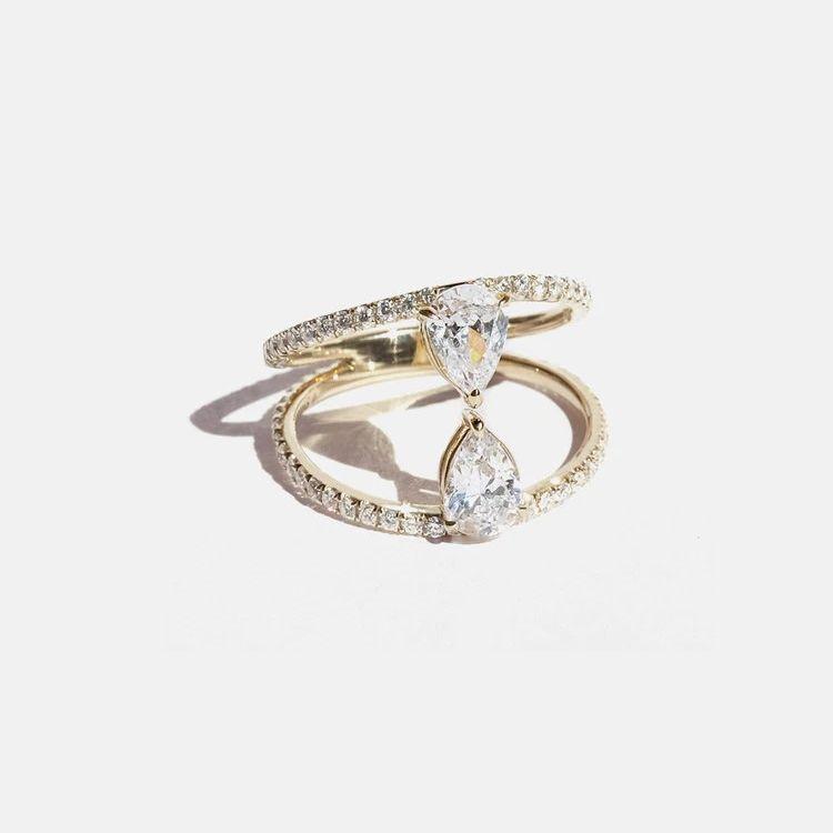 KatKim Duét Pear Pavé Ring