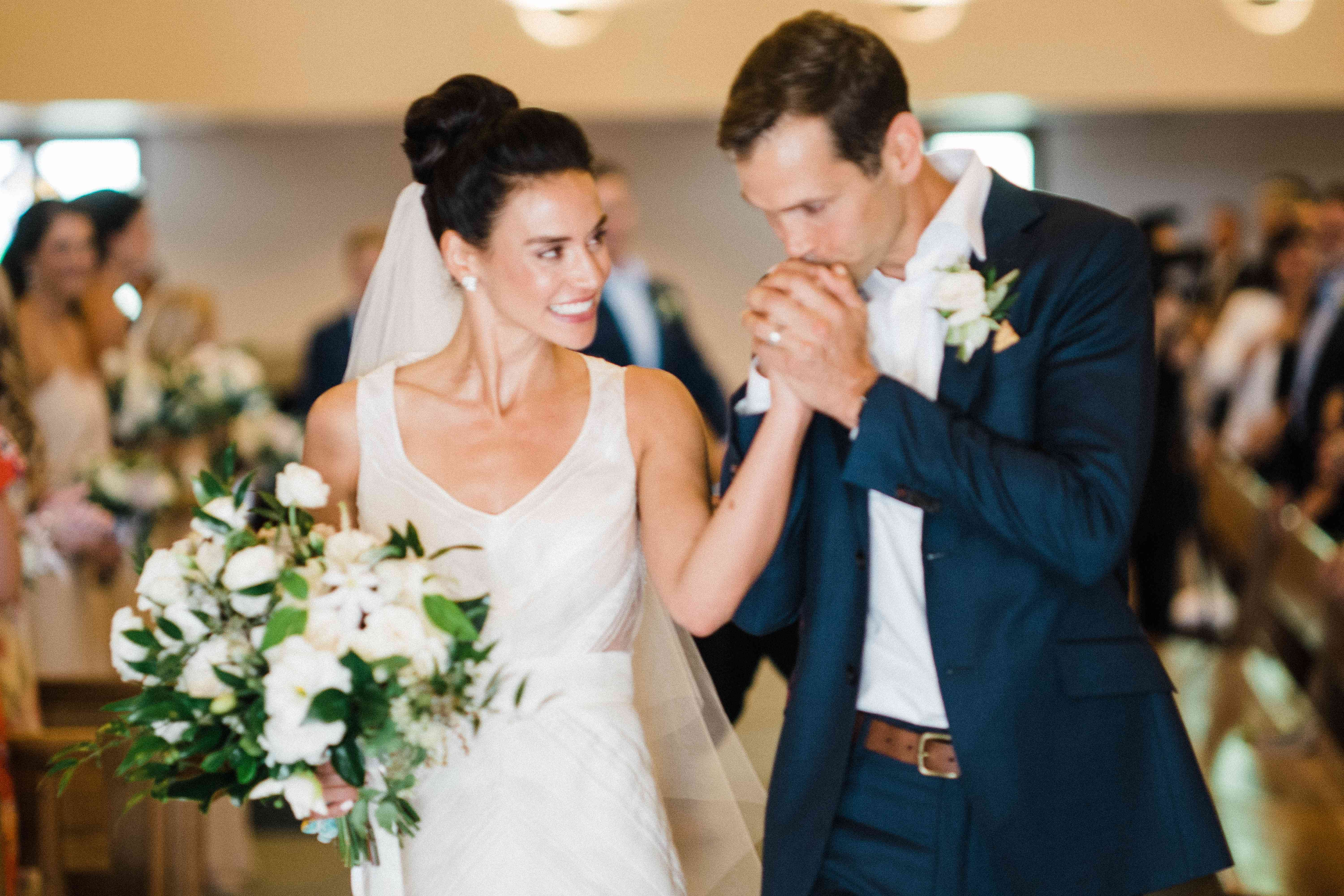 <p>Bride and groom during recessional</p><br><br>