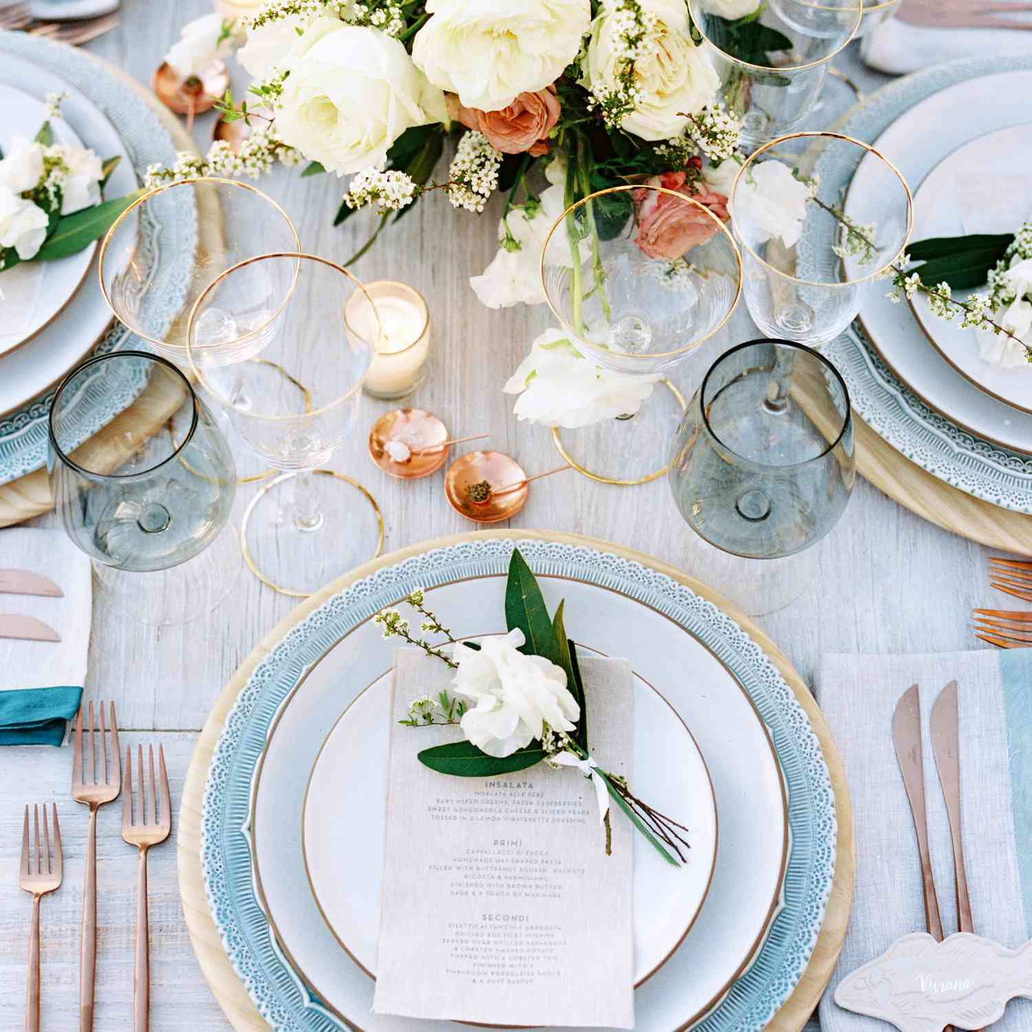 Baby blue tablescape