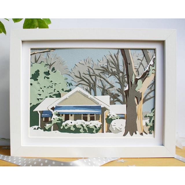 Custom Papercut House Portrait