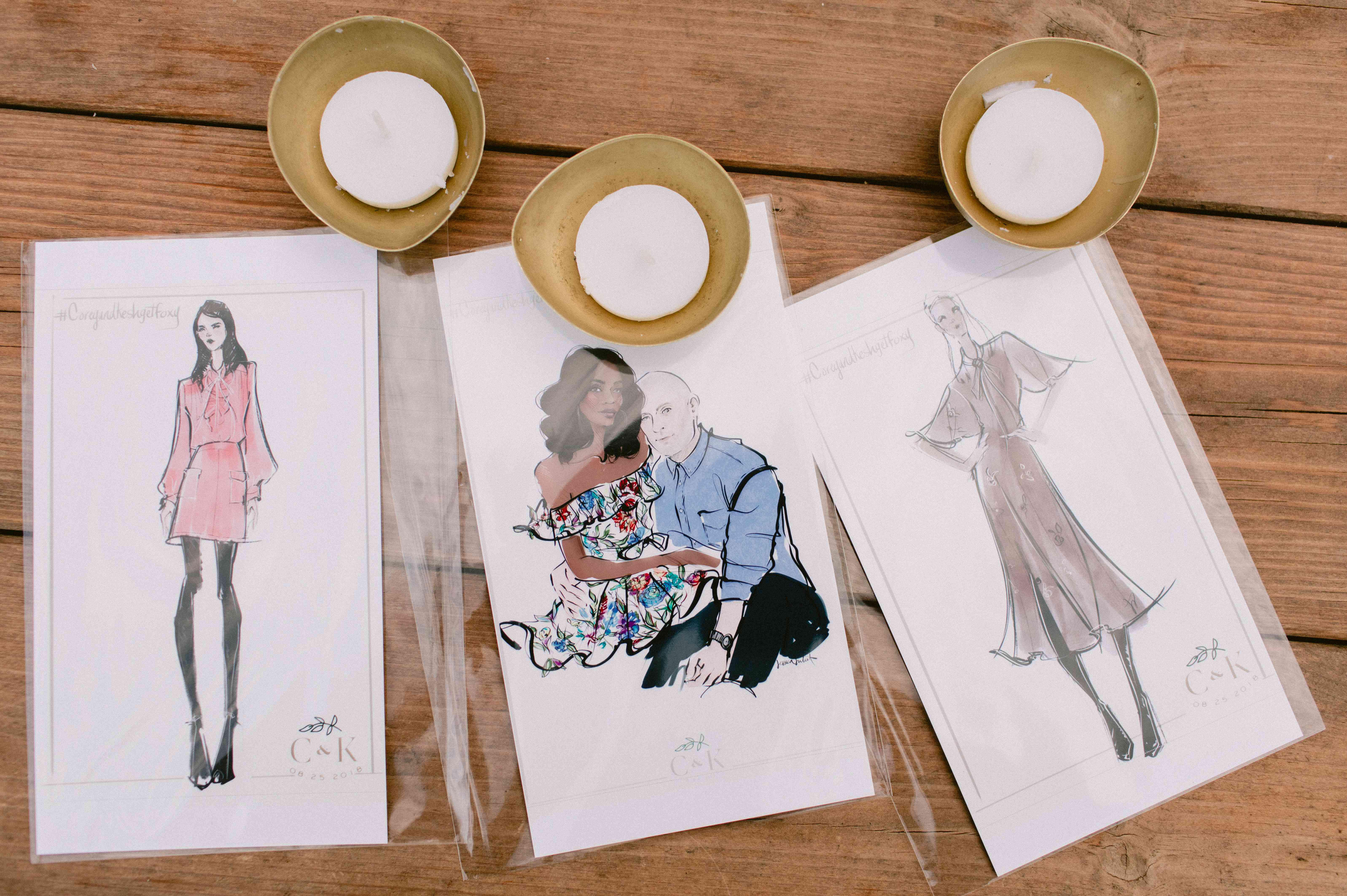 illustrations of guests as favors