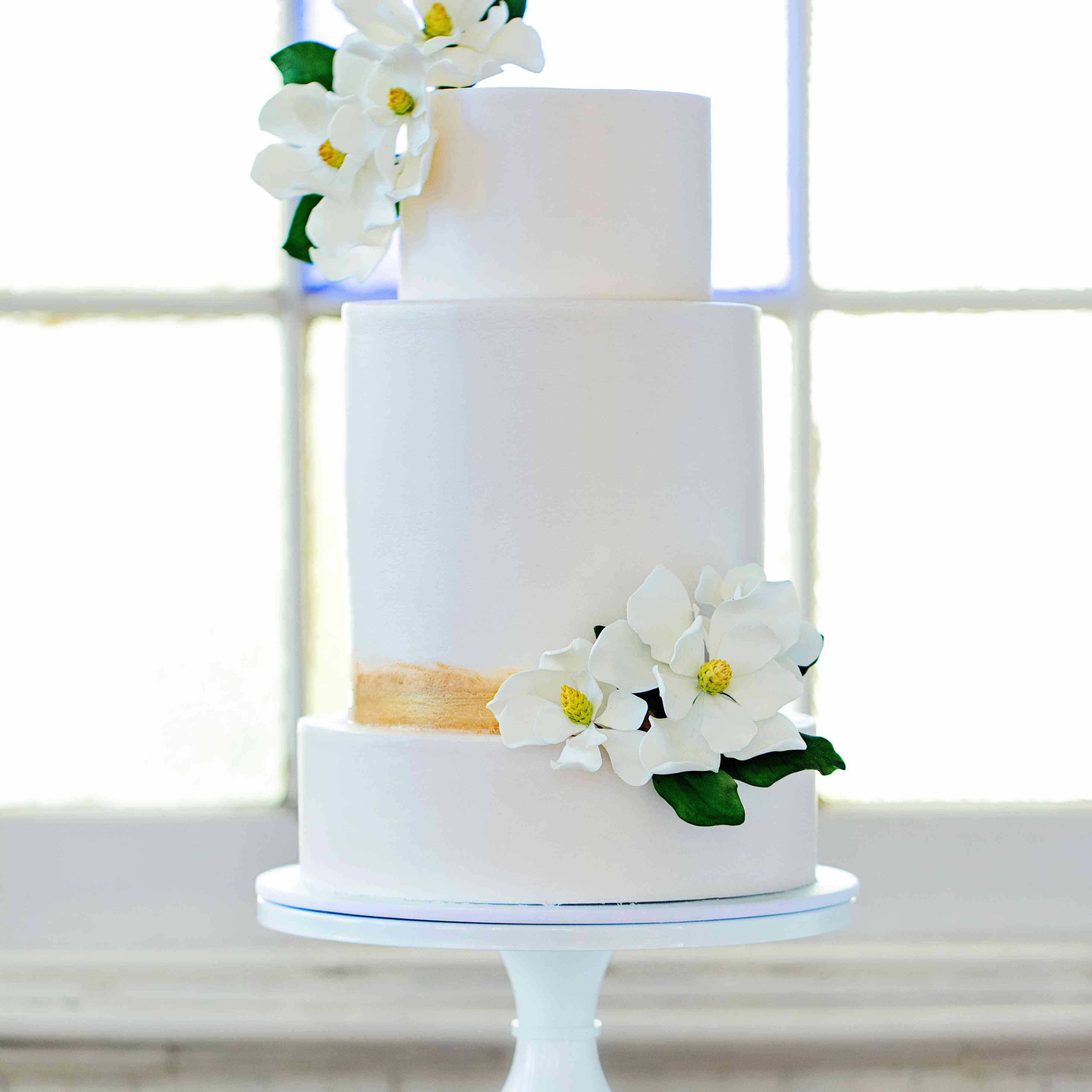 Three-Tiered White Wedding Cake with Flowers