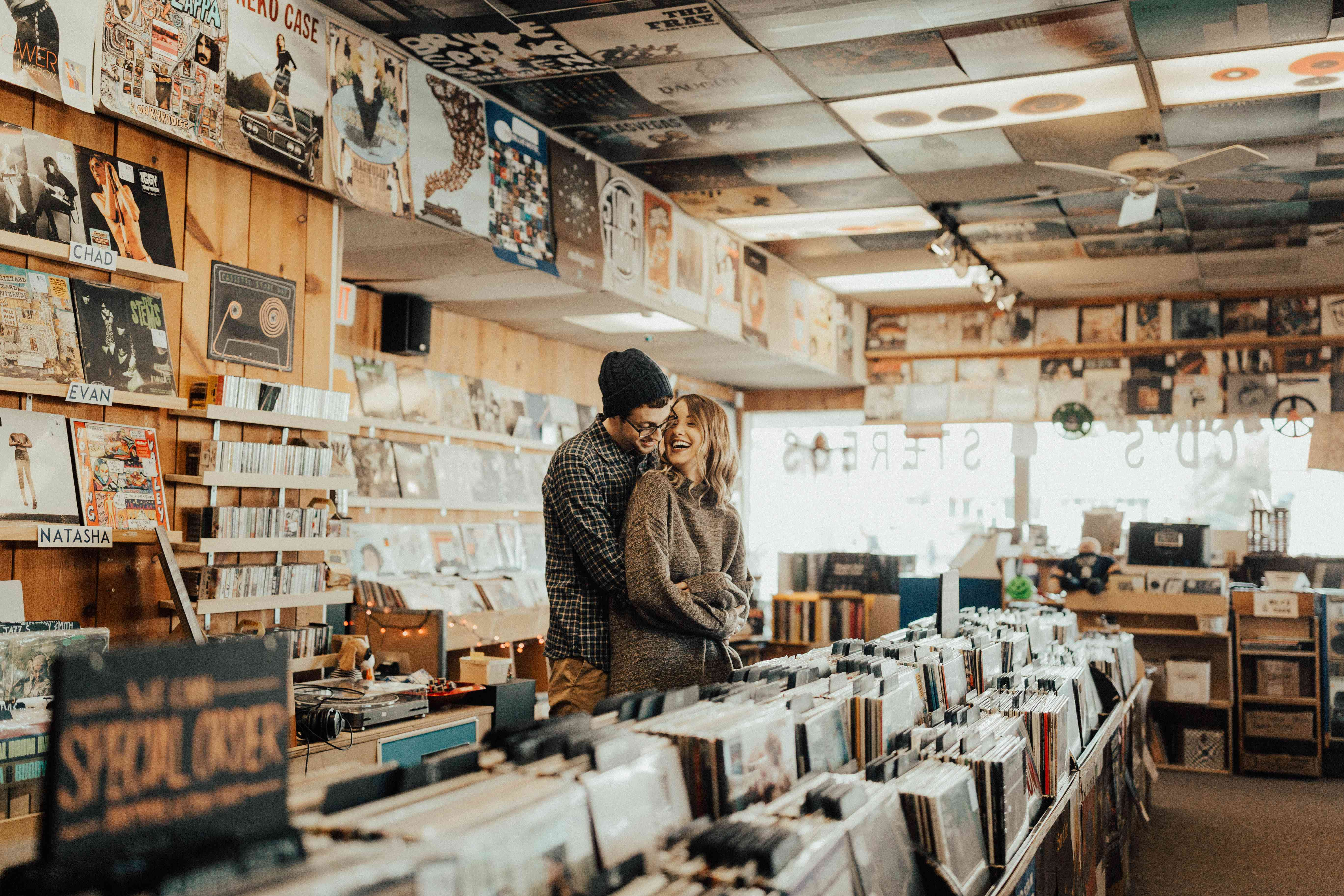 Couple in a record store
