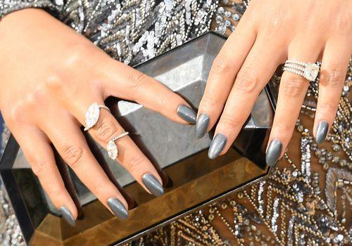 Sequin dress, gray manicure, and diamonds
